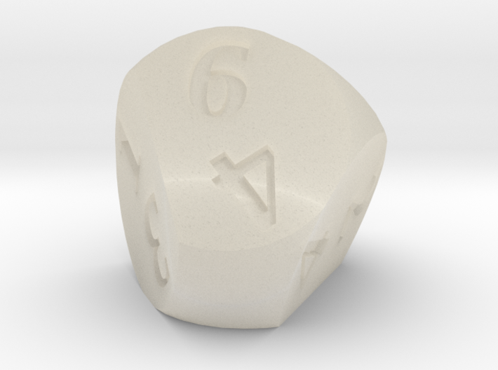 Weird D6 Rounded Dipyramid 3d printed Acrylic showing a result of 6