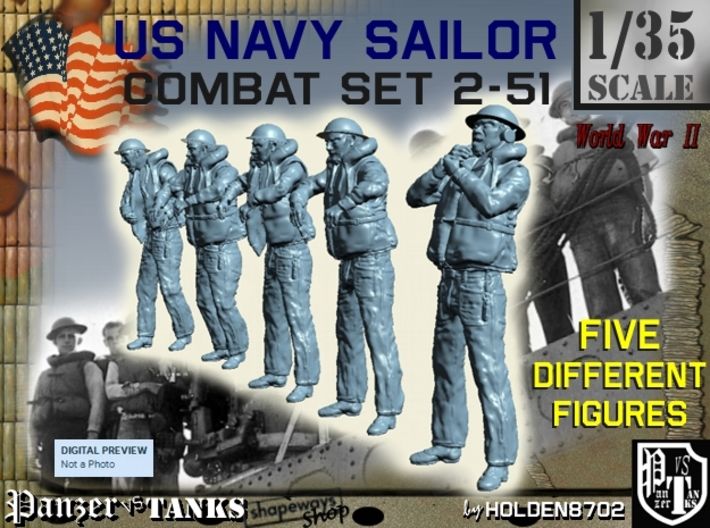 1-35 US Navy Sailors Combat SET 2-51 3d printed