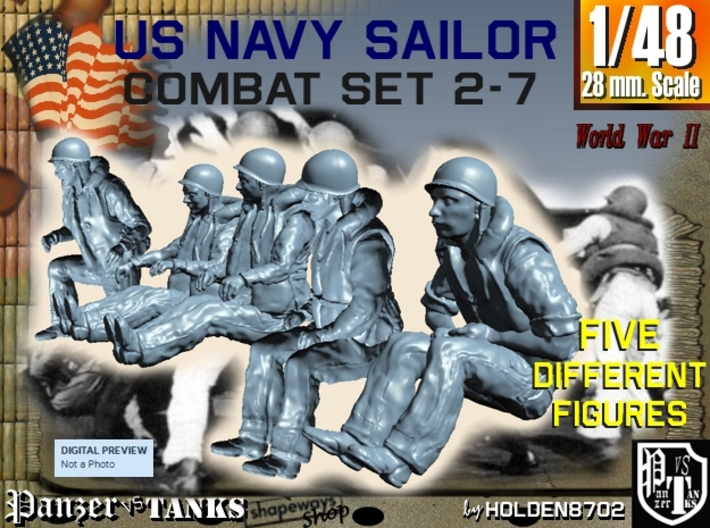 1-48 US Navy Sailors Combat SET 2-7 3d printed
