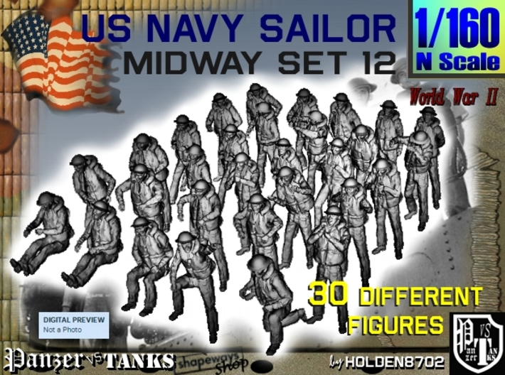 1-160 US Navy MIDWAY Set 12 3d printed