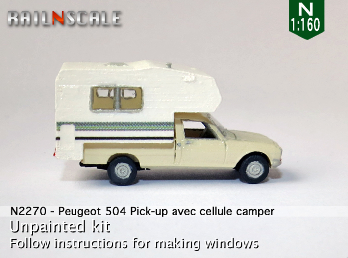 Peugeot 504 Pick-up avec cellule camper (N 1:160) 3d printed