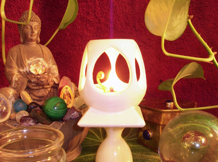 "Mystic Altar Oil Lamp ""Phi"" 3d printed Highly reflective and easy to clean, white porcelain is perfect for oil lamps."