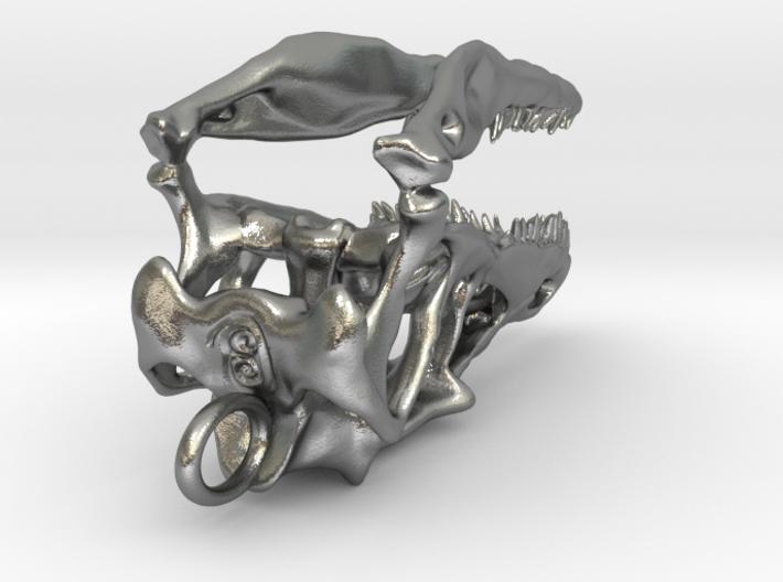 Velociraptor dinosaur skull pendant 3d printed