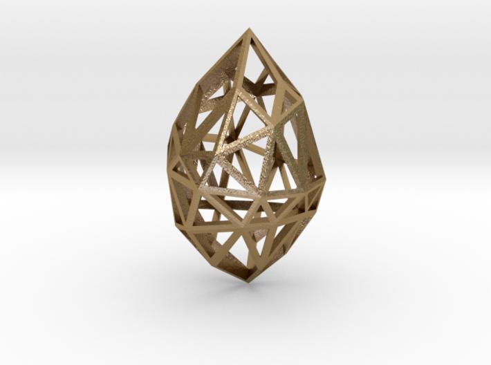 Geometric pendant 'Rough Diamond' (small) 3d printed