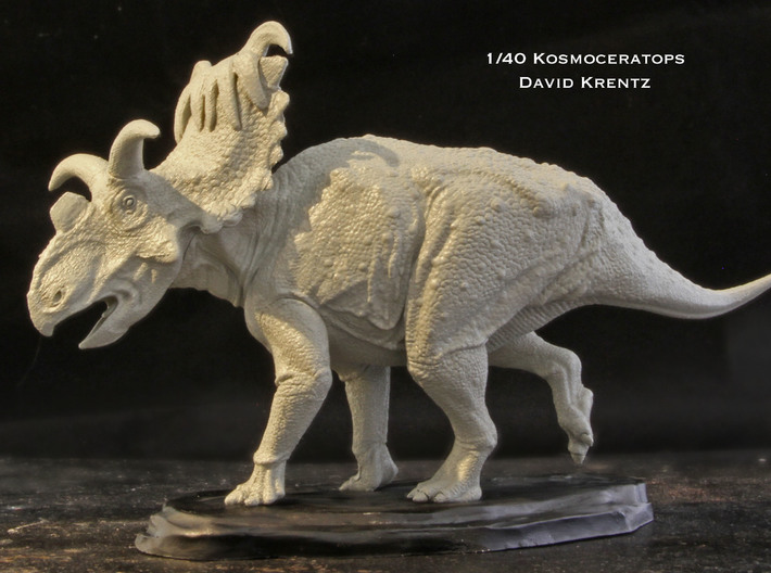 "Kosmoceratops 1/72 Krentz 3d printed PLEASE NOTE- This is 1/40 model (6"" long) that is available at www.dansdinosaurs.com and www.urzeitshop.de.  It is the same as the Shapeways model only larger with more detail."