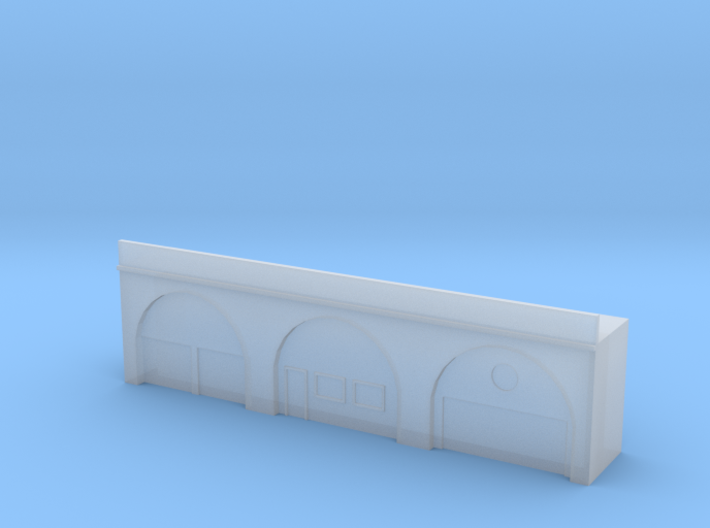 Triple Arch Single Track 60mm Bridge With Shops 3d printed