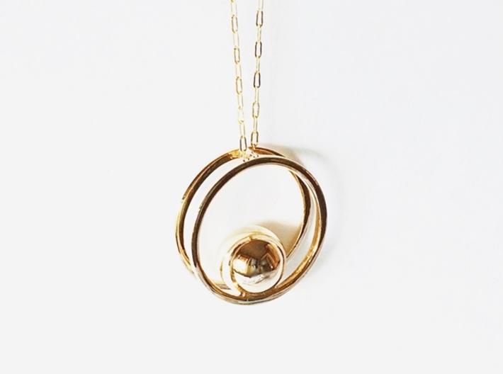 Balance Pendant - Minimalist Necklace 3d printed Balance Pendant in Polished Bronze