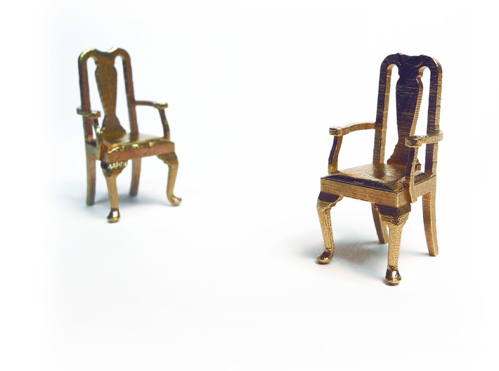 Pair of 1:48 Queen Anne Chairs, with arms 3d printed Printed in Raw Brass