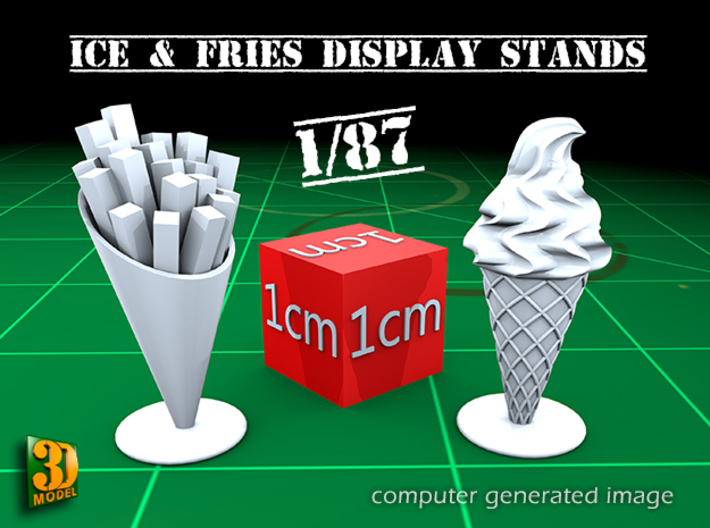 8 ICE & FRIES display stand (1:87) 3d printed ICE & FRIES display stands