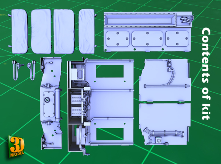 2S7 PION Crew Compartment (1:35) 3d printed 2S7 PION/MALKA crew compartment - parts
