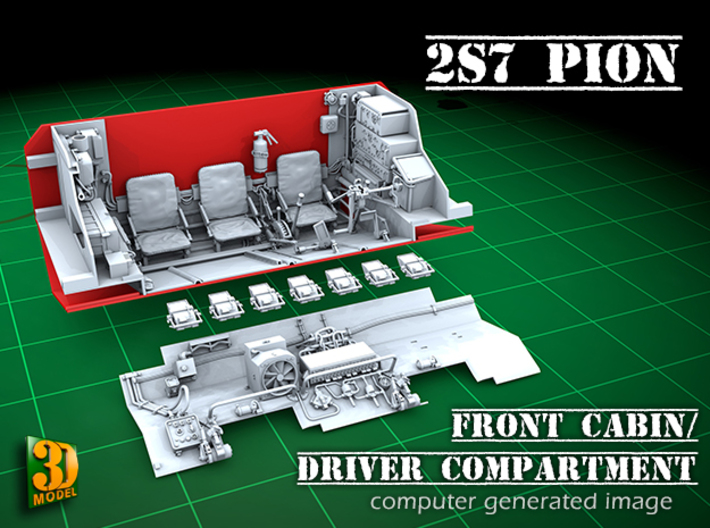 2S7 PION Interior set 1 3d printed 2S7 PION/MALKA front cabin/driver compartment