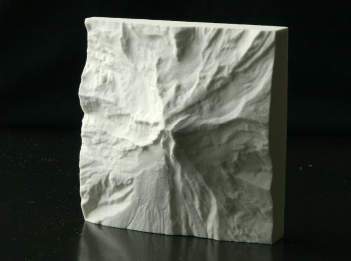 4'' Mt. Hood, Oregon, USA, Sandstone 3d printed Photo of actual model, viewed from above, North is up