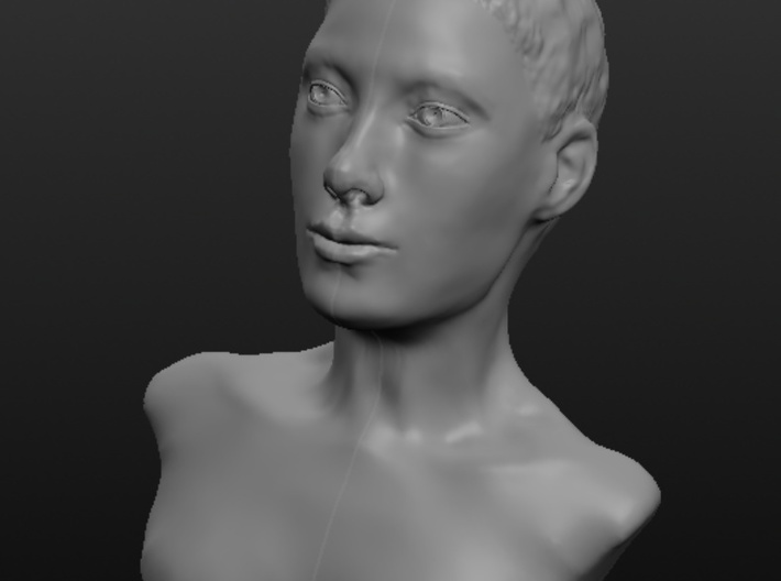 Woman with Very Short Hair 3d printed Front