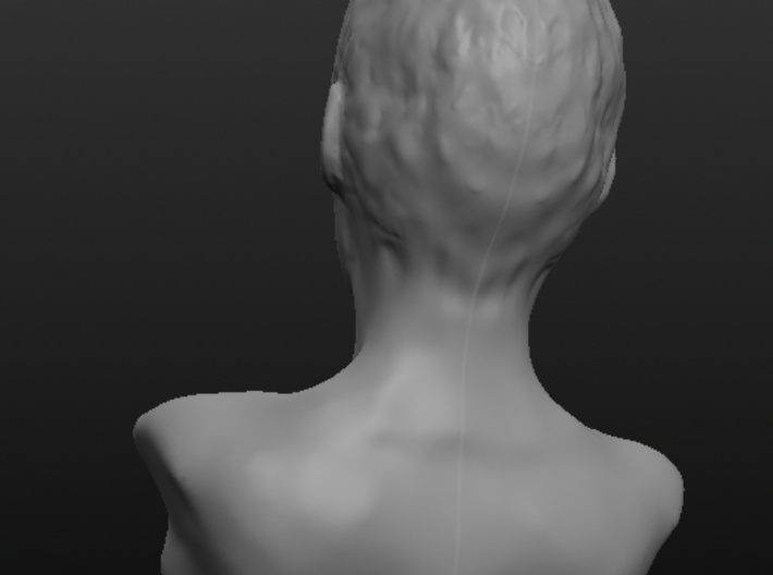 Woman with Very Short Hair 3d printed Back