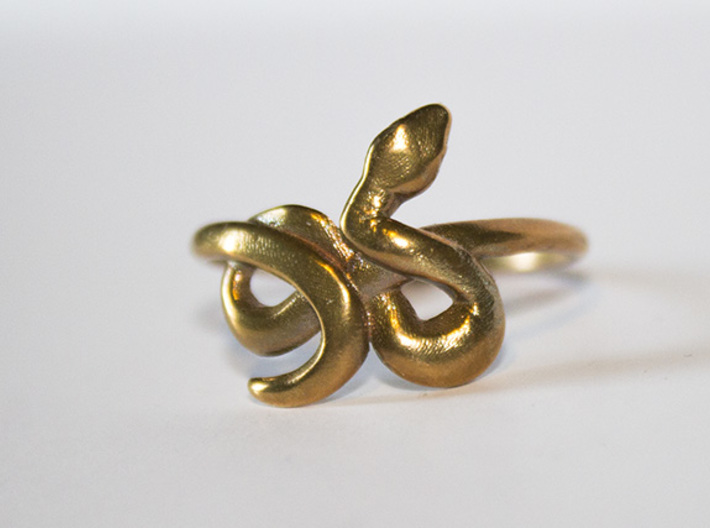 Slytherin Snake ring 3d printed Raw Bronze
