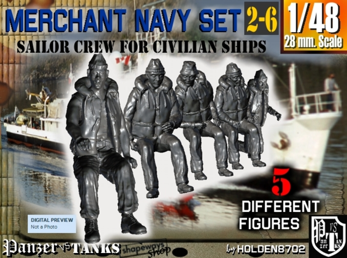 1-48 Merchant Navy Crew Set 2-6 3d printed