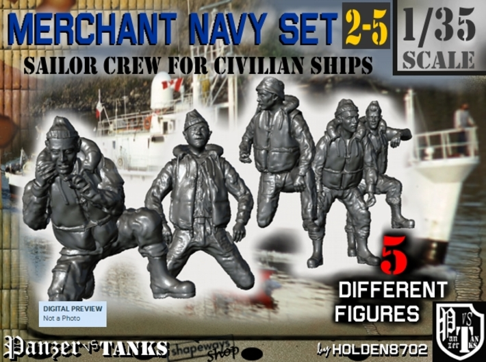 1-35 Merchant Navy Crew Set 2-5 3d printed