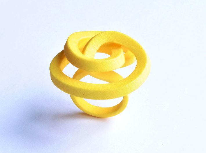 Ring Love is in the AIR Large 3d printed Smooth Large, elegant and sophisticated knot yellow ring