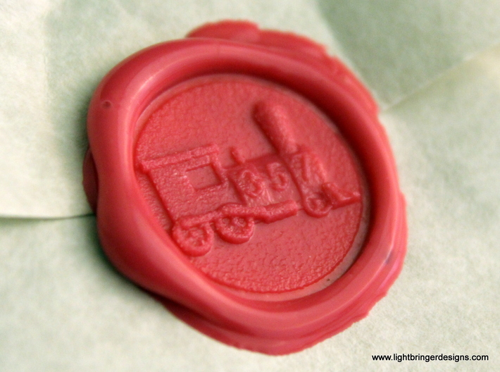 Locomotive Wax Seal 3d printed Locomotive impression in Plumeria Pink sealing wax