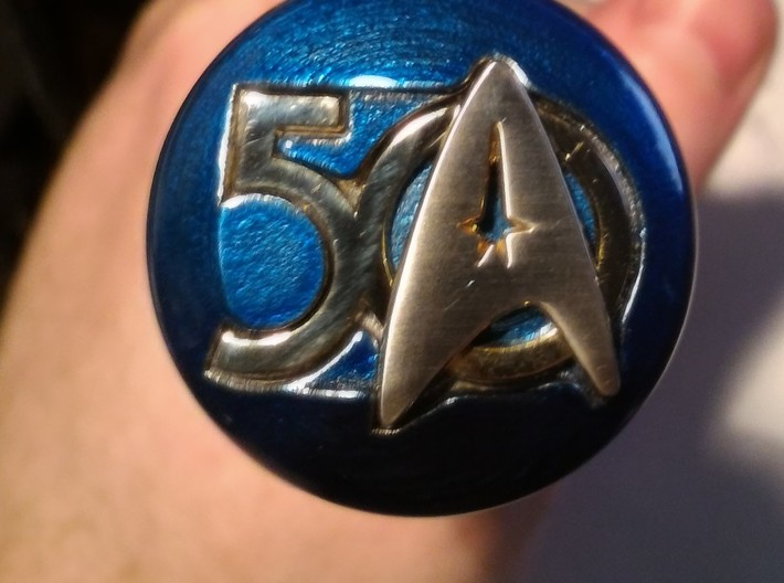 Star Trek 50 Shooter Knob R3 3d printed Candy Electric Blue PowderCoat