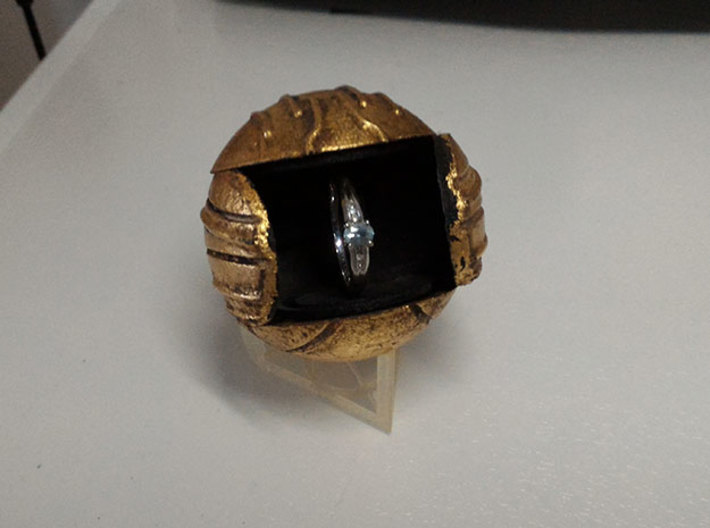 Harry's First Snitch Ring Box-Pt.1-Body-Original 3d printed Black Plastic - open with eing - Gold leaf & Weathered