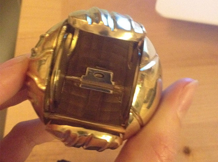 Harry's First Snitch Ring Box-Pt.1-Body-Cust. Text 3d printed Polished Brass - open with ring holder