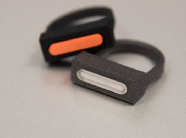 MetaRing - Dreamer Dia 19mm - Ring Body Only 3d printed Black Matte Stainless steel + Detail Frosted