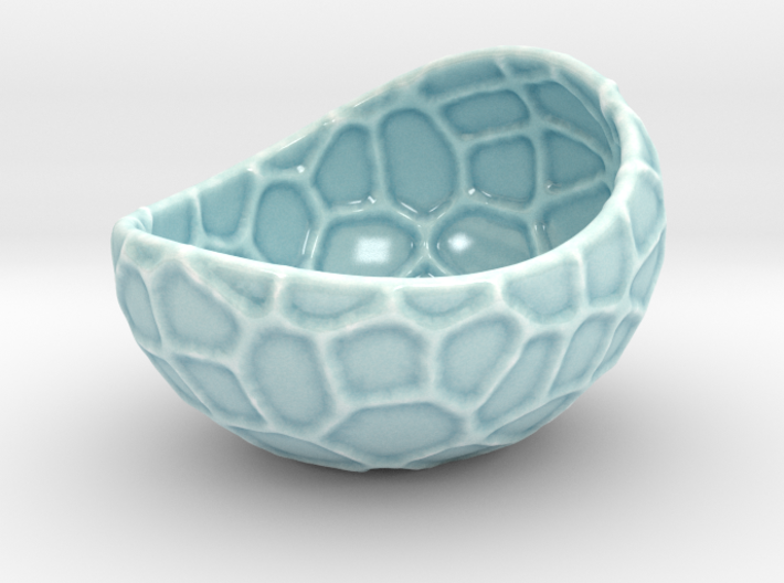 Porcelain Plant-pot in Water-Look (size small) 3d printed