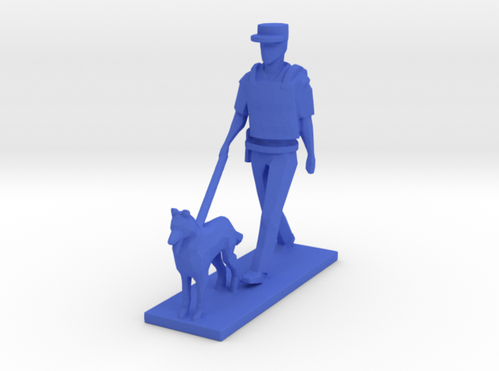 Police Walking with Dog K-9 (Summer in Paris) 3d printed