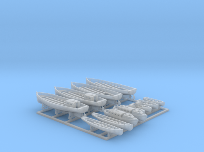 1/600 WW2 RN Boat Set 2 with Mounts 3d printed 1/600 Royal Navy WW2 Boat Set 2 with Mounts