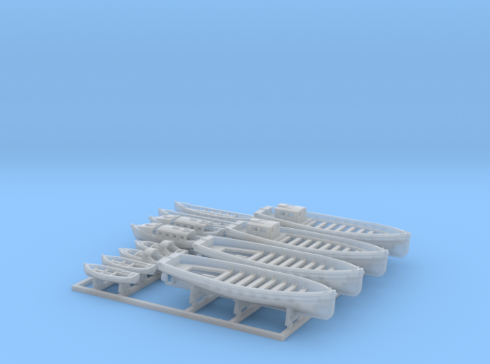 1/500 WW2 RN Boat Set 2 with Mounts 3d printed 1/500 Royal Navy WW2 Boat Set 2 with Mounts