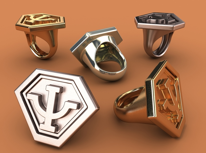 Babylon 5's Psy Corps Ring 3d printed Stainless steel, gold plated mate & premium silver renderings
