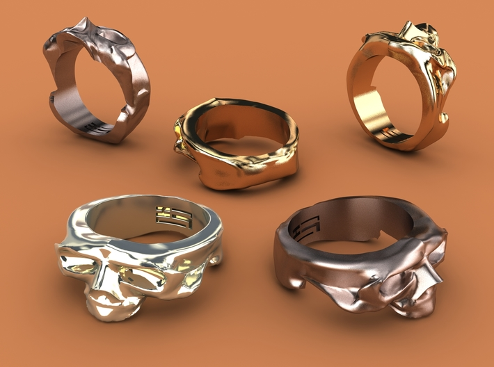 Splitted Skull Ring 3d printed Stainless steel, gold plated mate & premium silver renderings