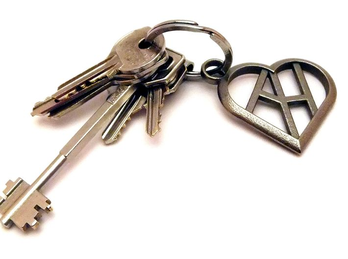 Heart of love keychain [customizable] 3d printed The keychain in action (customizable initials, key ring not included) [printed in polished nickel steel]
