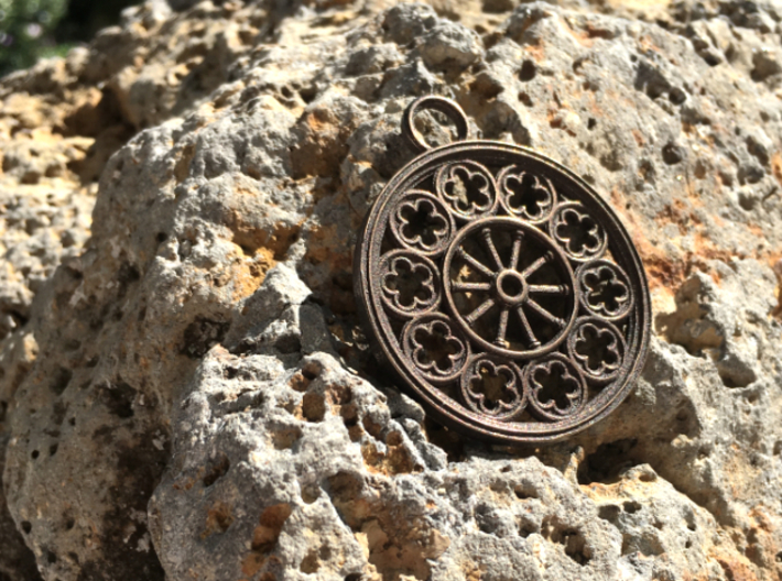 Rose Window Pendant 3d printed Rose window pendant