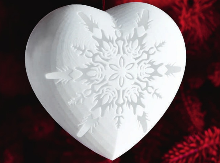 Large Snowflake Heart by Helen & Colin David 3d printed Snowflake Heart as Featured in Red Magazine - December 2013