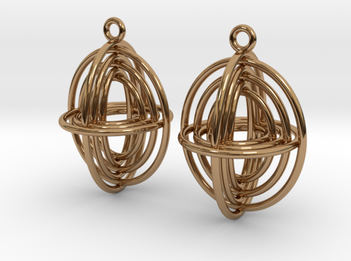 Concentric Borromean -- Precious Metal Earrings 3d printed