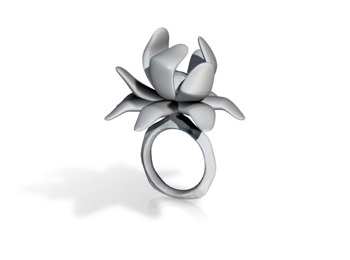 Lotus Cocktail Ring 3d printed