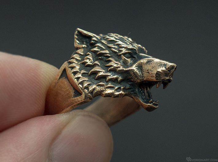 Wolf Head Ring 3d printed Blackened brass. You'll get the ring without blackening, but you can do it yourself