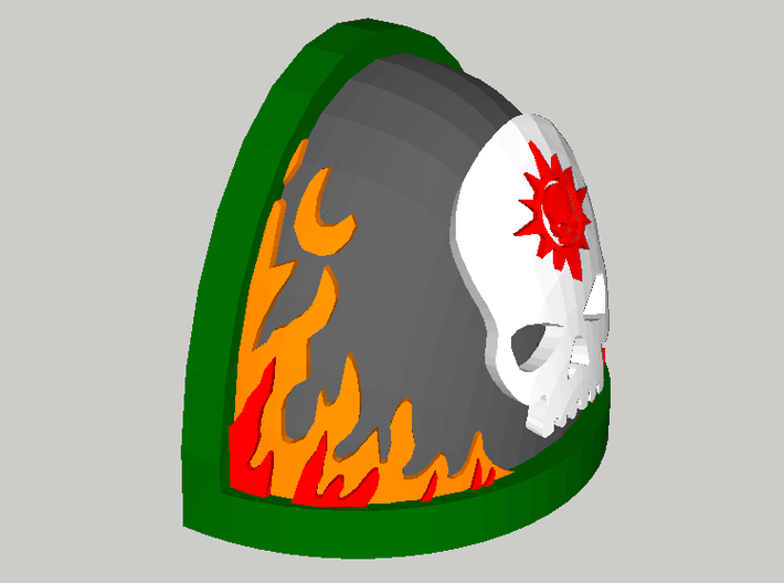 20 Shoulder Pads Skull with Flames and Halo 3d printed