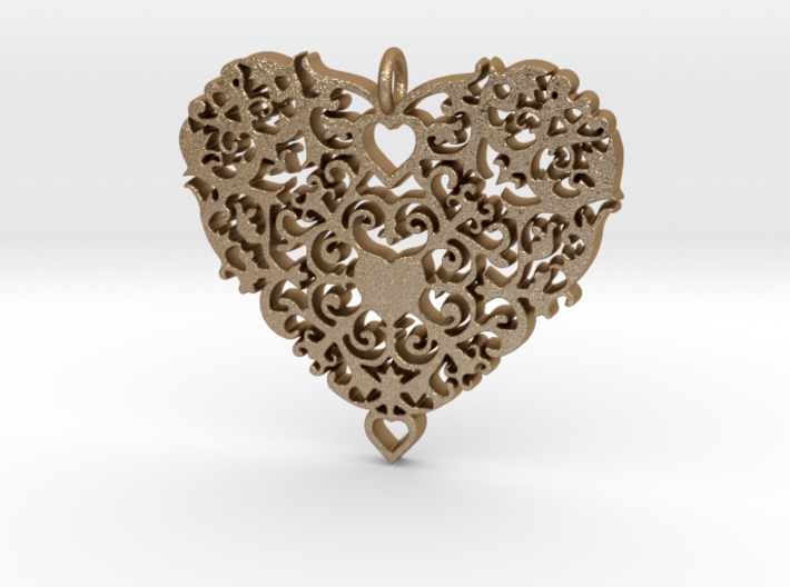 Floral Heart Pendant - Amour 3d printed