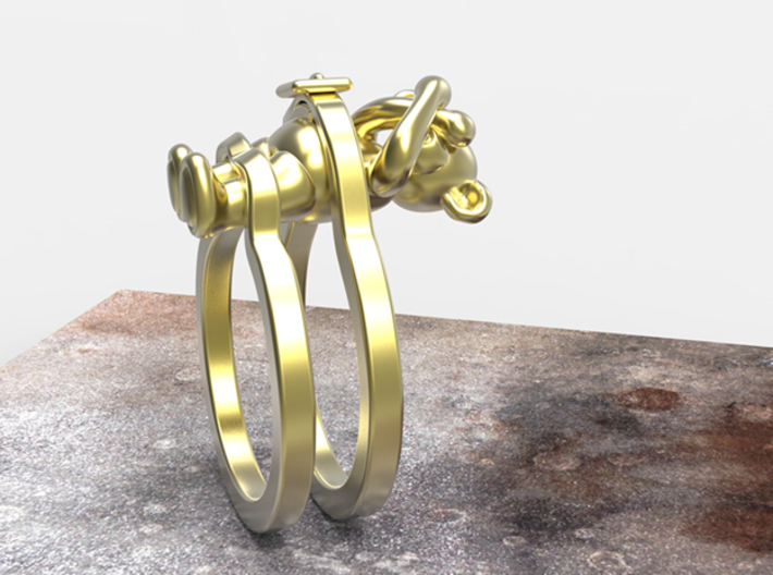 Teddy Bear Ring (Tied Up) 3d printed