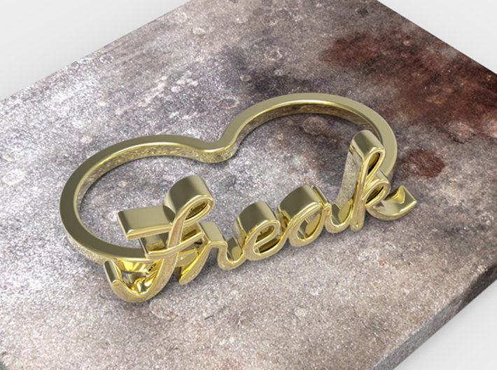 Freak Script Ring (2-Finger) 3d printed