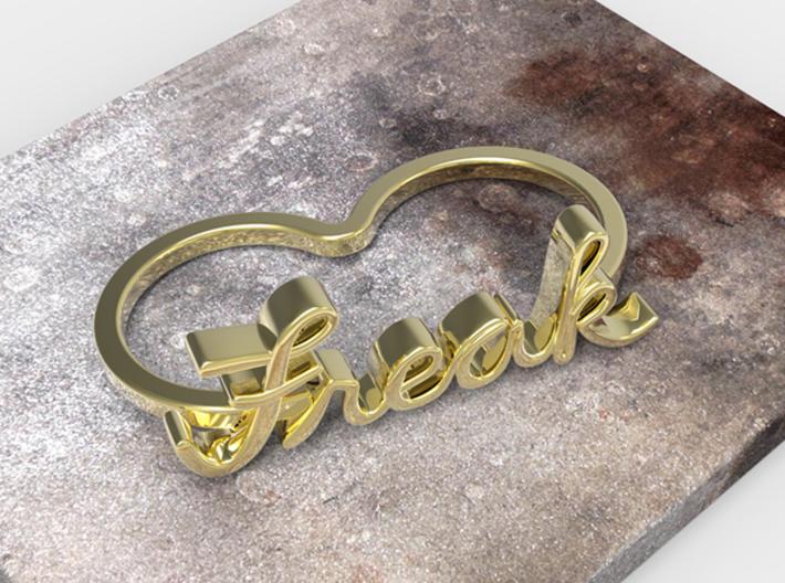 Freak Script Ring (2-Finger) 3d printed