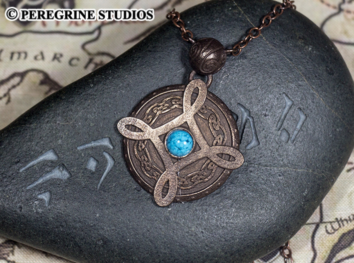 Pendant - Amulet of Mara 3d printed Polished Bronze Steel