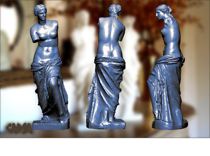 "Venus de Milo (19.4"" tall) 3d printed Venus de Milo (computer rendering, shown in blue for contrast)"