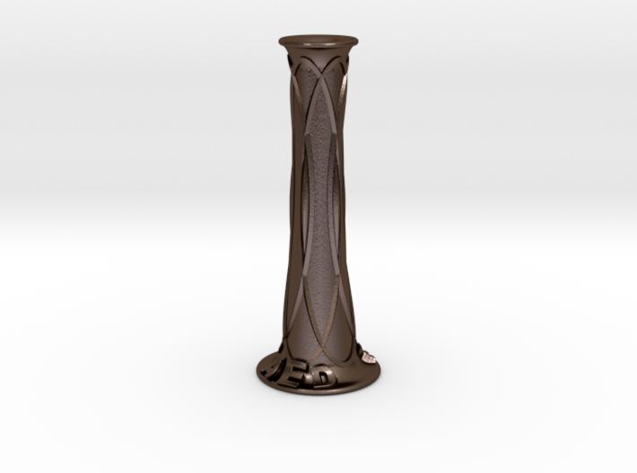 Birthday Candle Holder- Customizable Metal 3d printed Polished Bronze Steel. Pictured finish.