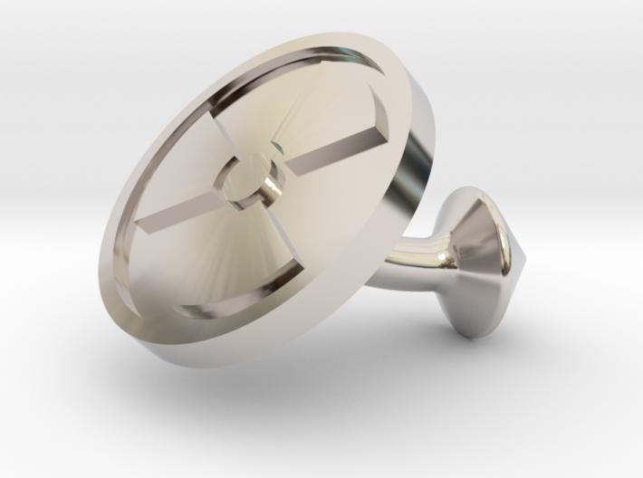 SINGLE Cufflink for NUKE - Nuclear Hazard 3d printed