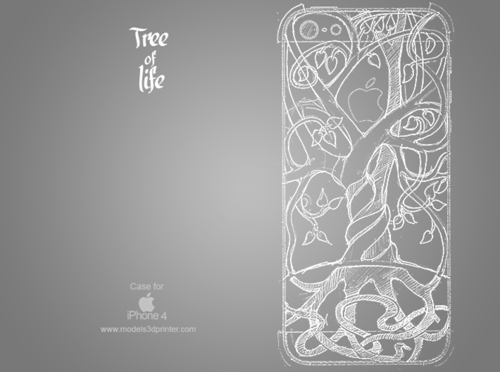"Iphone 4, 4S case ""Tree of life"" 3d printed"
