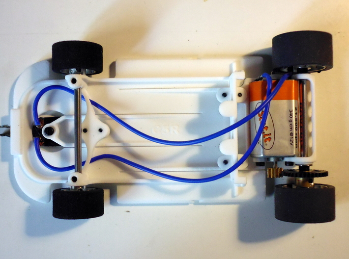 Slot car chassis for C5r 1/28 3d printed